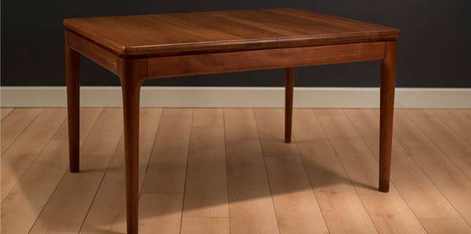 Danish Solid Teak Dining Table by Glostrup Mobelfabrik