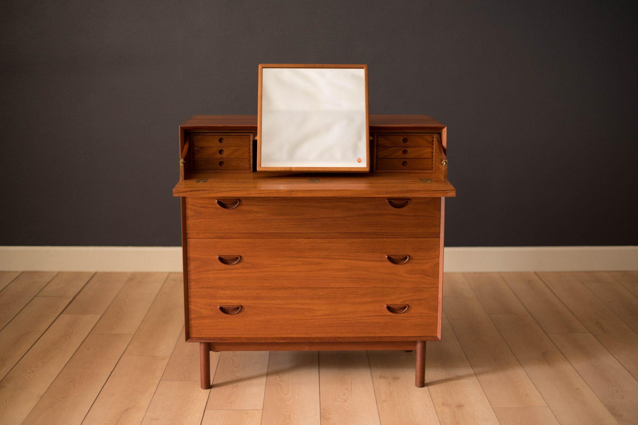 Vintage Solid Teak Vanity Dresser Chest By Peter Hvidt