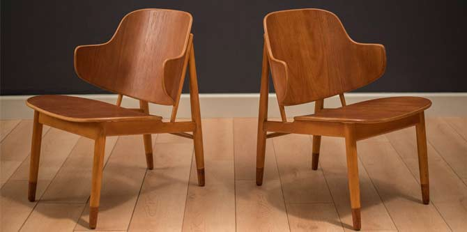 Danish Ib Kofod Larsen Teak Shell Chairs