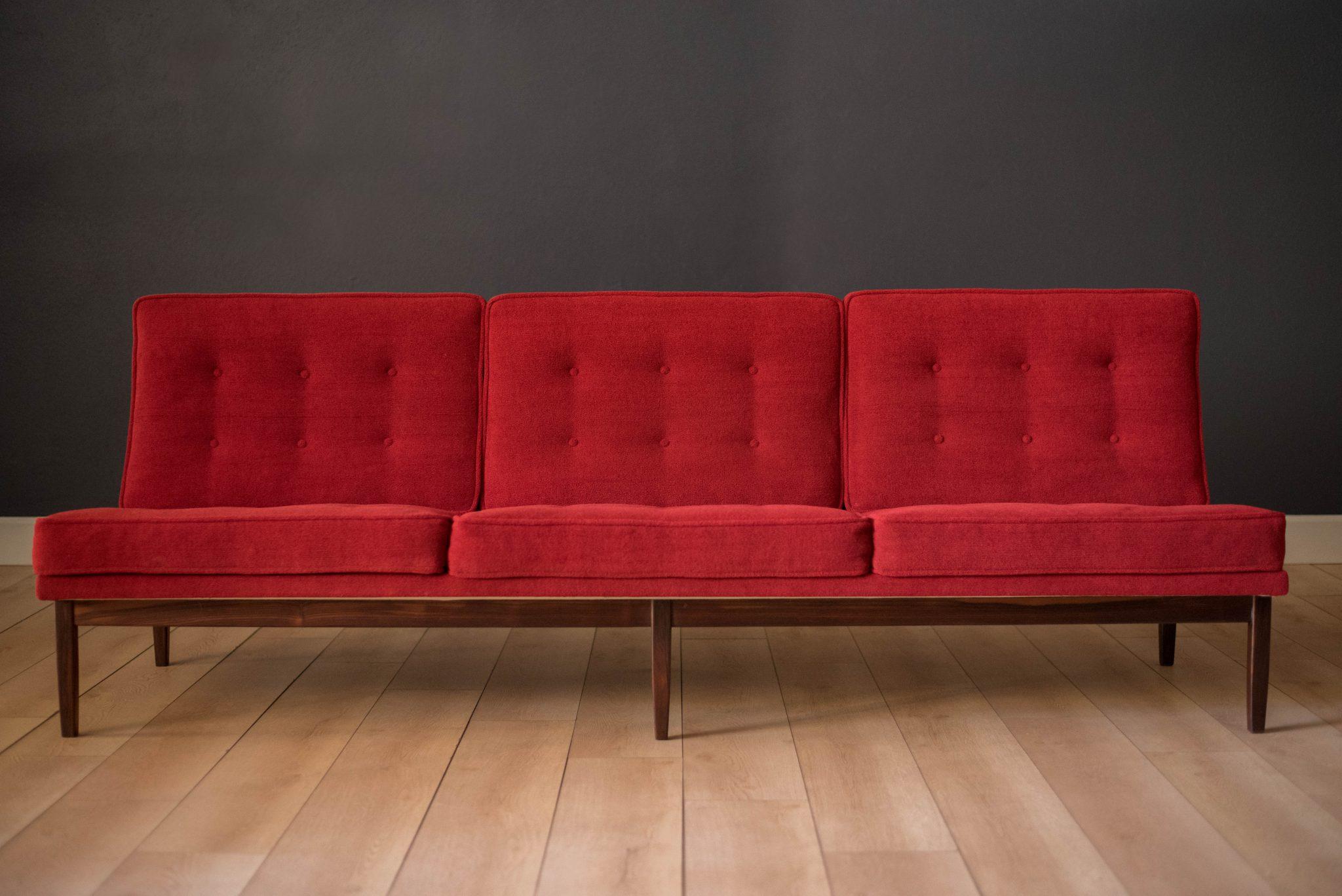 Florence Knoll Three Seat Rosewood Sofa