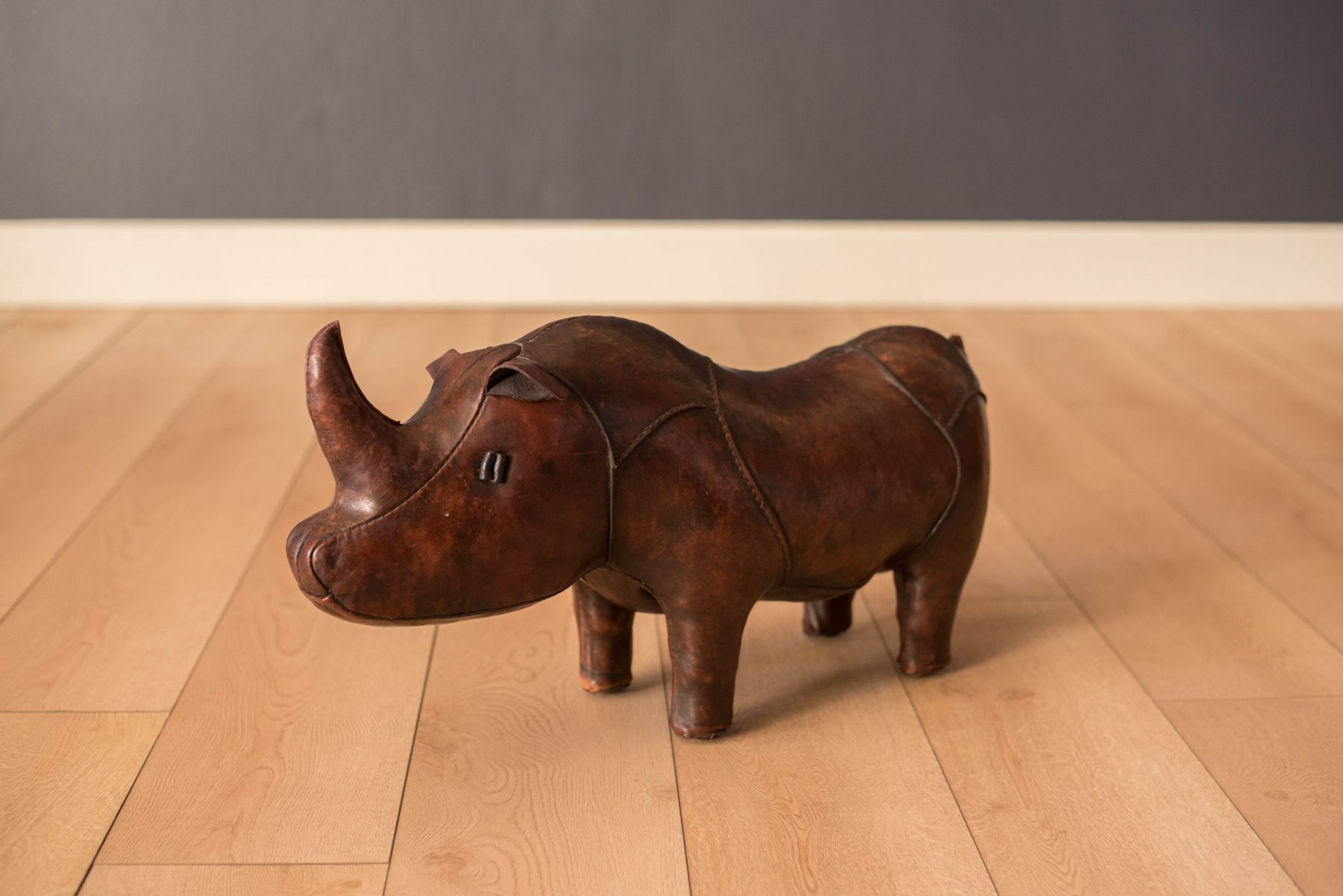 Vintage Abercrombie And Fitch Leather Rhino Footstool By