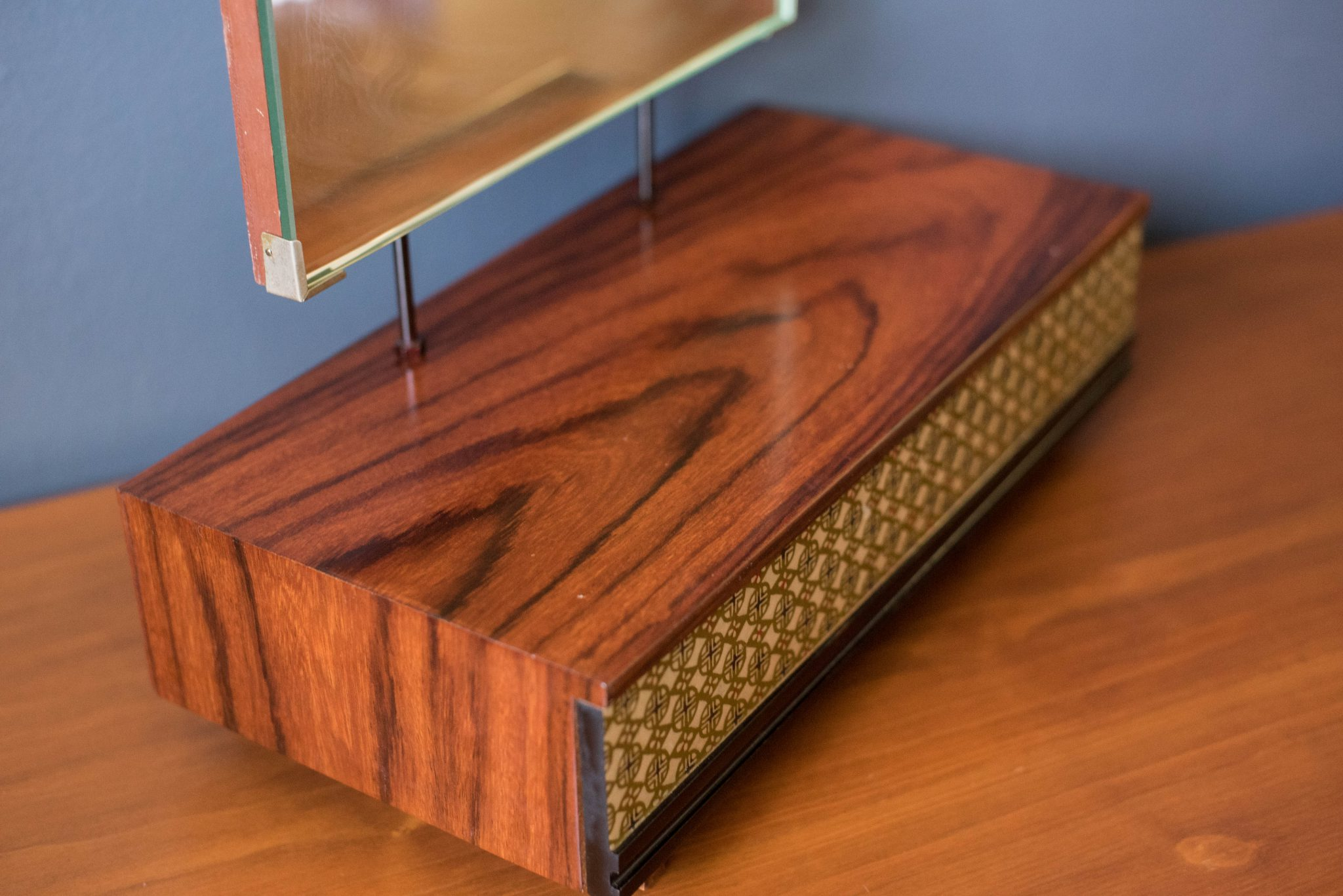 Mid Century Modern Rosewood Jewelry Box With Mirror Mid Century Maddist