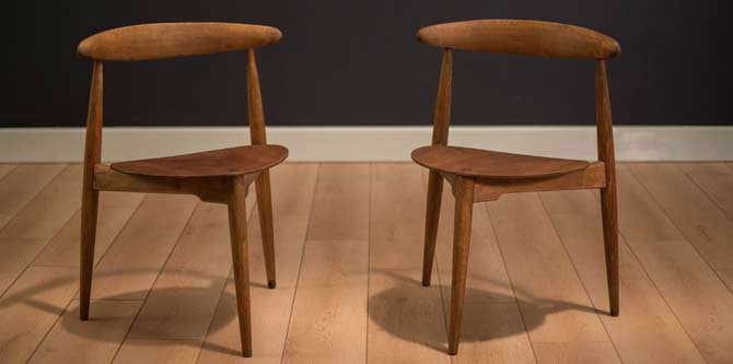 Pair of Hans Wegner Heart Chairs FH 4103